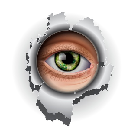 open eye: Interested Eye looking in hole