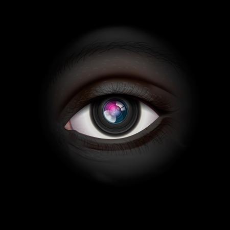 Fondo de alta tecnología con el ojo de la lente de cámara Ilustración de vector