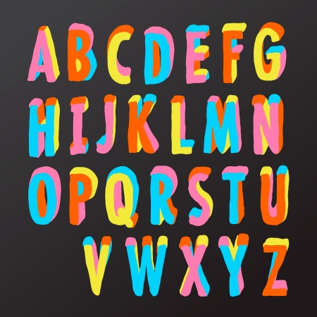 Alphabet design in colorful style Vector