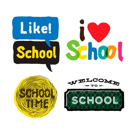 internet class: School Icons set Illustration