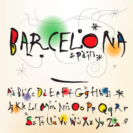El alfabeto de estilo español del artista Joan Miró Ilustración de vector