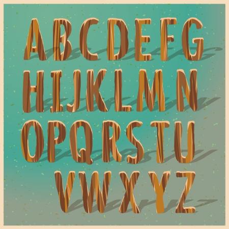 prinitng block: English wooden alphabet