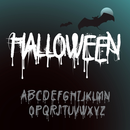 Halloween Splash Alphabet Vector