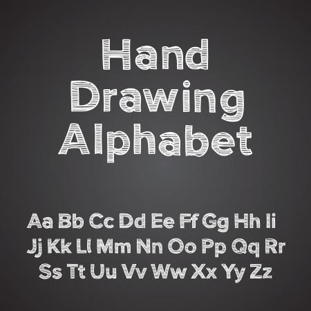 Handzeichnung Alphabet mit Kreide-Effekt Illustration