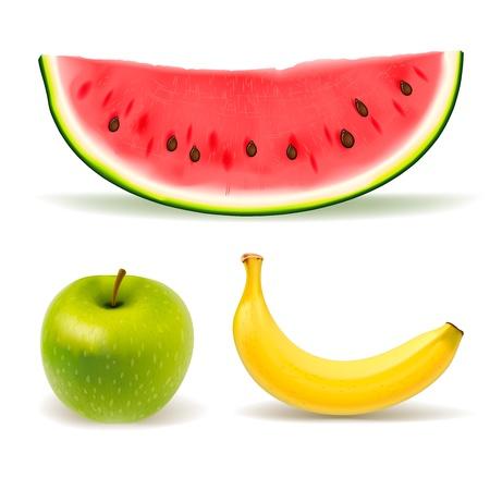 Fresh fruit set on white background Ilustrace