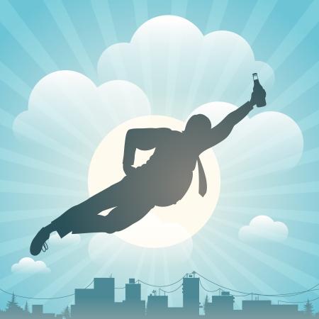 Silhouette di un uomo che vola sopra città
