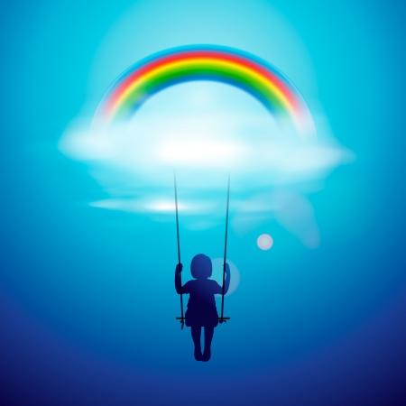 Niña en un columpio bajo el arco iris Ilustración de vector
