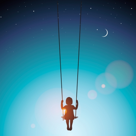 moonlit: Little girl on a swing