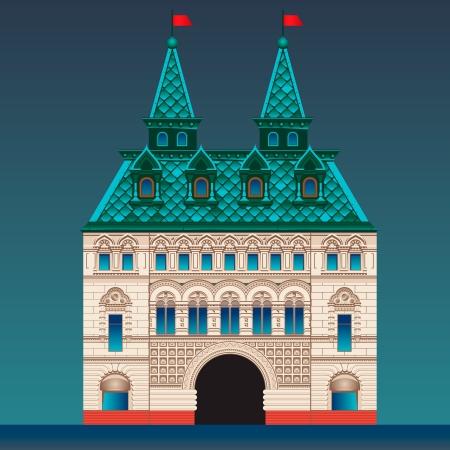 palacio ruso: Casa de estilo ruso Vectores