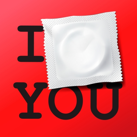 Condom with text I love you Stock Vector - 18143181