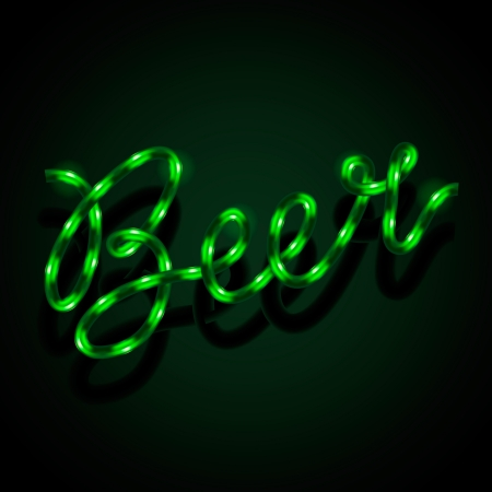 Glowing neon sign - Beer Vector