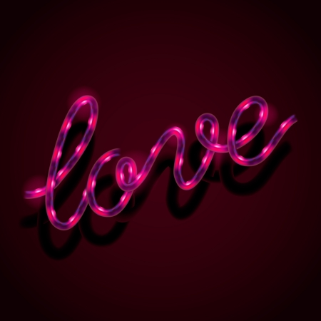 Glowing neon sign - Love Vector