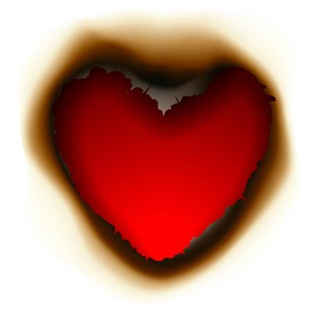 papel quemado: Burnt agujero en forma de corazón