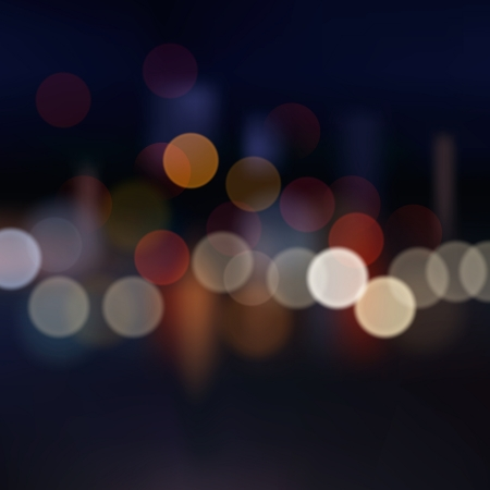 light source: Blurred city at night, vector background  Illustration