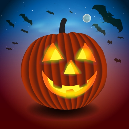 Halloween background with scary pumpking