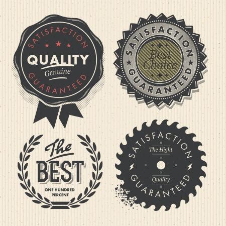 Vintage-Set Premium-Qualität und Garantie Etiketten Illustration