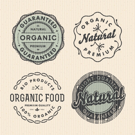 quality stamp: set vintage organic labels