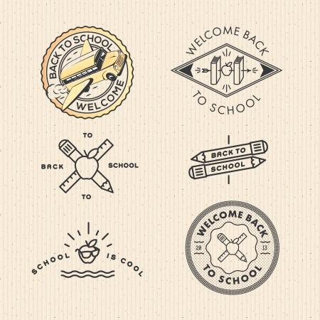 profesores: establecer vintage labels escolares Vectores