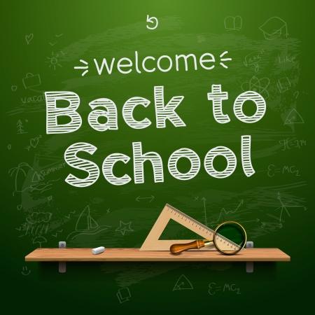 chalk board: Back to school background  Illustration