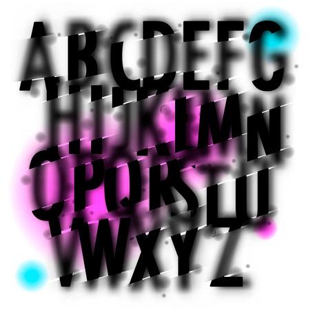 ink drops: Handwritten blur watercolor alphabet  Illustration