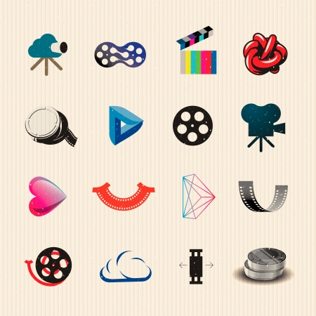 Colorful movie icons set,  illustration.
