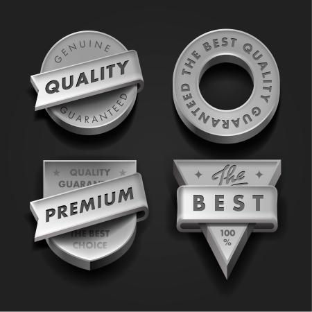 Set Premium-Qualität und Garantie Etiketten dreidimensionale Vektorgrafik