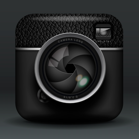 Total black professional photo camera icon Vector