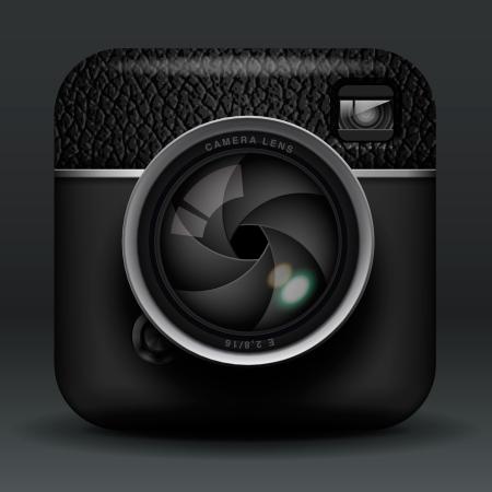 reflex camera: Total black professional photo camera icon