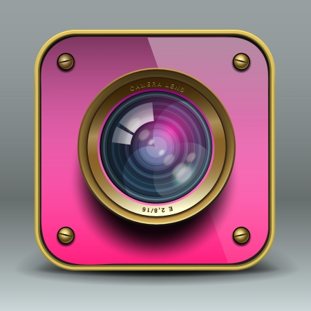 digital camera: Pink photo camera icon Illustration