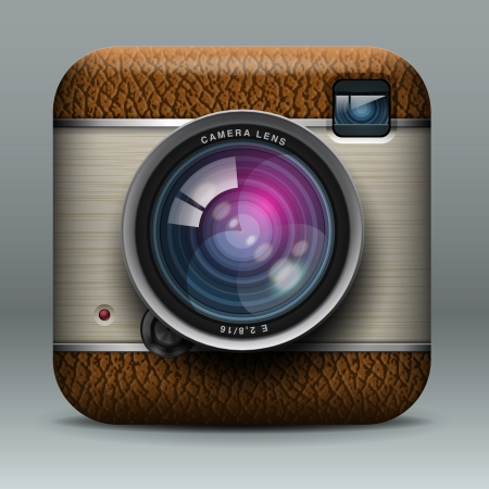 photo camera: Vintage professional photo camera icon