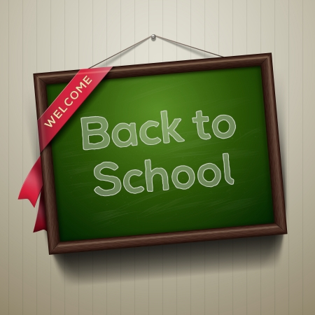 secondary school: Back to school, written on blackboard with chalk