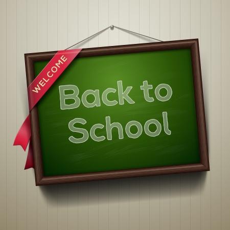 high school student: Back to school, written on blackboard with chalk