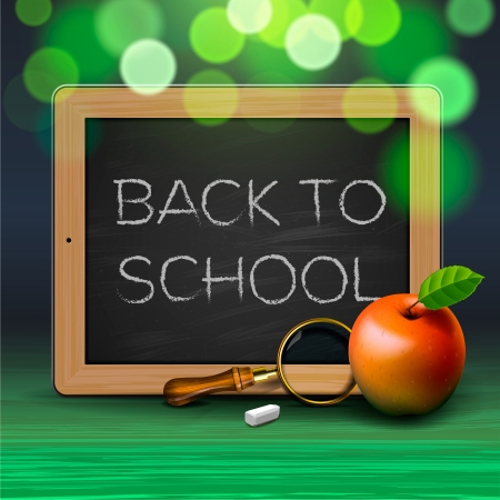 Back to school, written on blackboard with chalk Stock Vector - 19384195