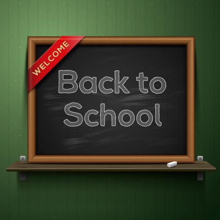 Back to school, blackboard on the shelf Stock Vector - 19384192