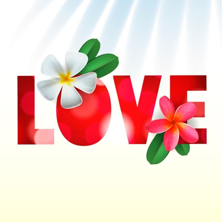 congratulations word: Love card with Frangipani flowers
