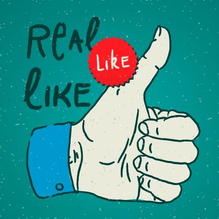 Like Thumbs Up symbol hand drawn Stock Vector - 19605320