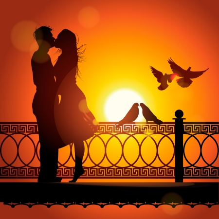 Silhouette of couple in love kissing at sunset Illustration
