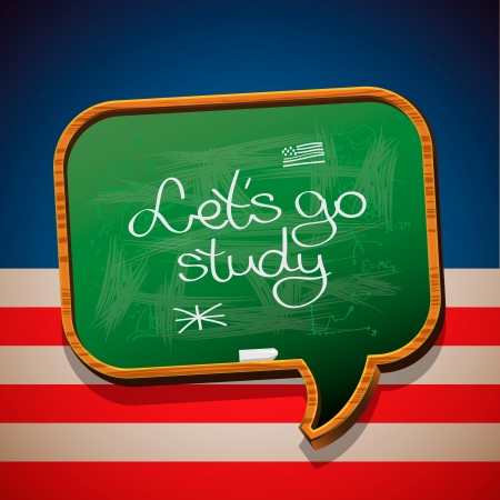 in english: Let s go study - handwritten on blackboard Illustration