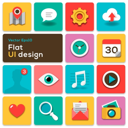with sets of elements: Flat UI design trend set icons Illustration