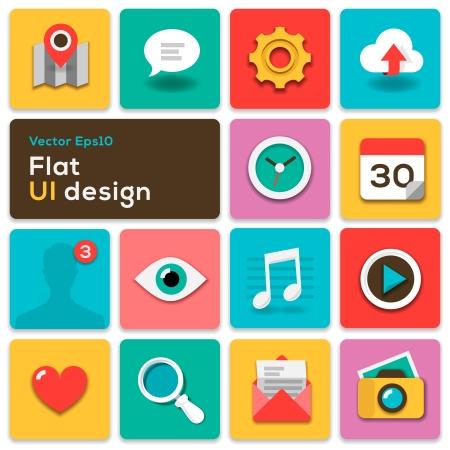 interface elements: Flat UI design trend set icons Illustration