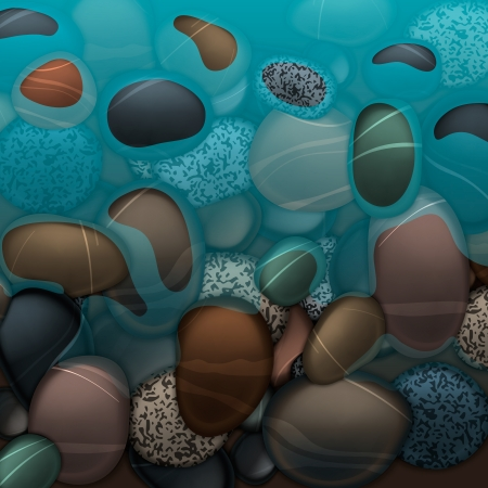 grey water: Sea water and pebbles stones
