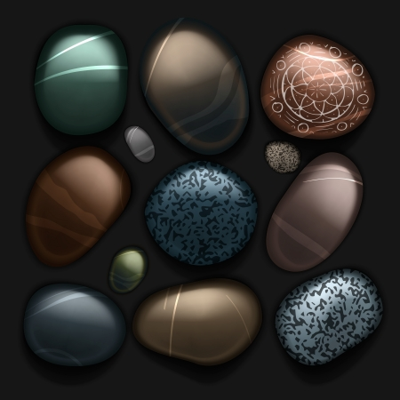 gray matter: Stones pebble collection isolated on black