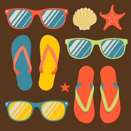 a thong: Seamless pattern with flip flops and sunglasses