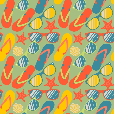 a thong: Seamless pattern with flip flops, sunglasses and starfish Illustration