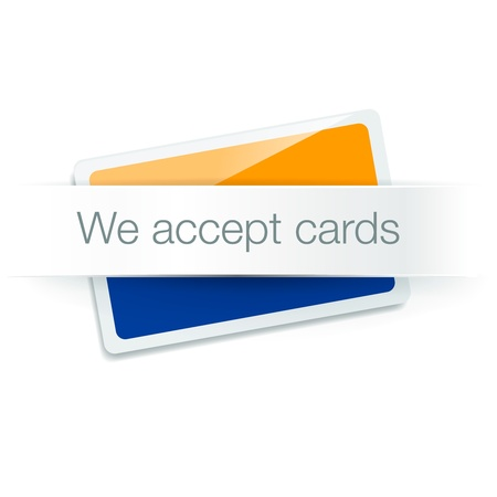 accept: We accept cards - credit card isolated on white