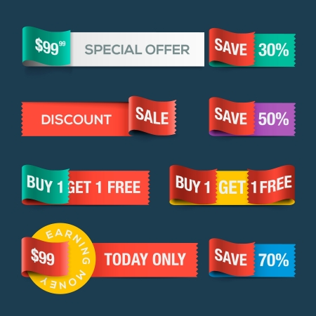 Collection of sale discount website ribbons Vector