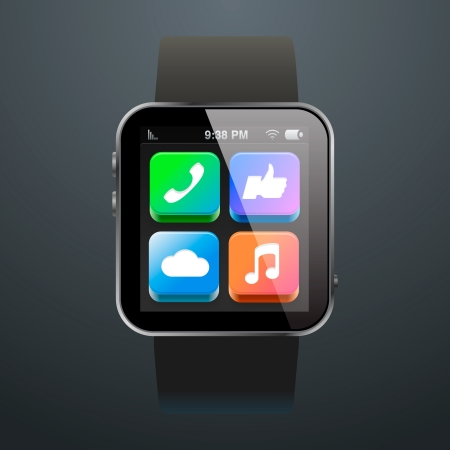 Moderne Uhr mit App Icons Illustration