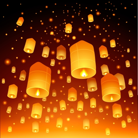 paper lantern: Thailand, Loy Krathong and Yi Peng Festival Illustration