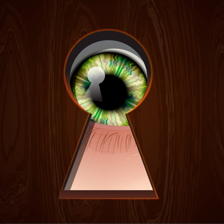 secret privacy: Interested Eye looking in keyhole Illustration