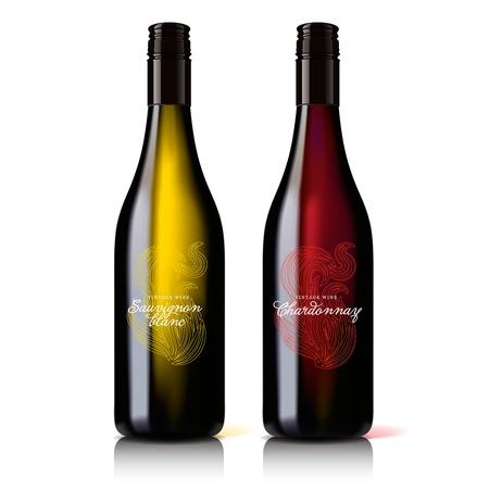 Klassische, attraktive Flasche Wein rot und weiß